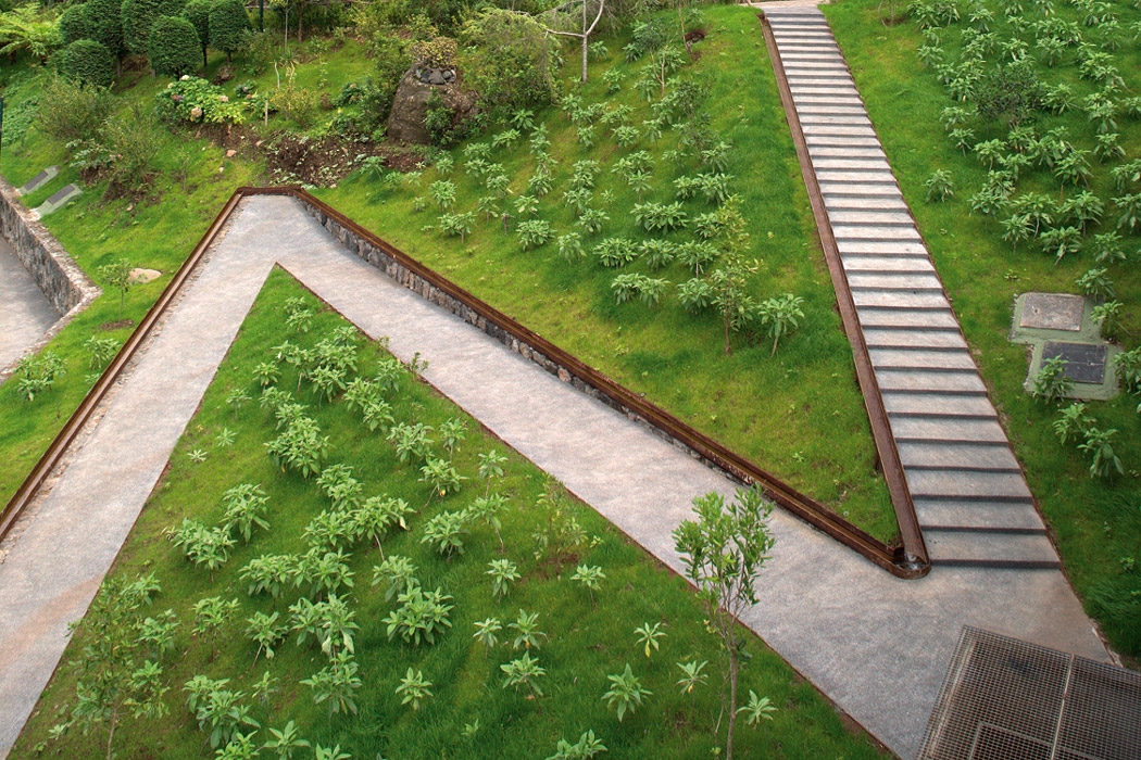 Volcano pavillion and water gardens of s vicente by for Water landscape design