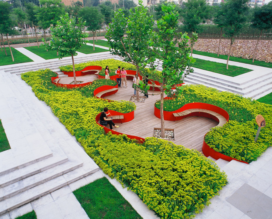 Tianjin qiaoyuan park by turenscape landscape architecture for Grid landscape design