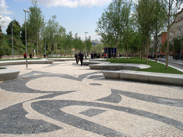 Avenida De Portugal 03 Detail Cherry Blossom Pattern In