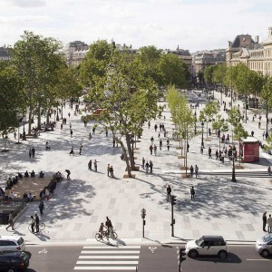 The redevelopment of the Place de la République is based on the concept of an open space with multiple urban uses. The elimination of the traffic circle frees the site from the dominating constraint of motor vehicle traffic. The creation of the concourse marks the return of calm in an airy, uncluttered two hectare space.