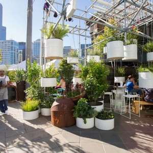 A cloud-like structure suspended above a floating bar and open-kitchen restaurant on the banks of Melbourne's Yarra River will form the spectacular centrepiece of the 2014 Melbourne Food and Wine Festival presented by Bank of Melbourne when it opens to the public today.