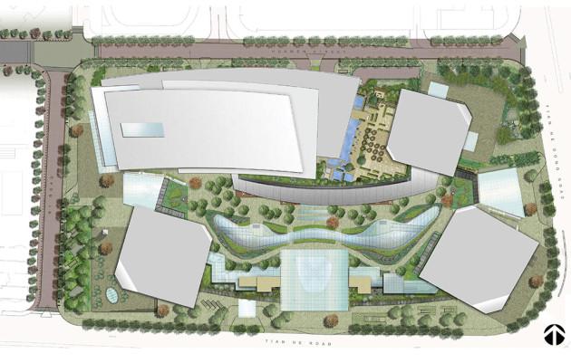 Taikoo hui green roof and plazas by arquitectonicageo for Roof garden floor plan