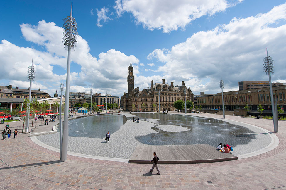 Bradford s city park by gillespies landscape for Mirror pool bordeaux