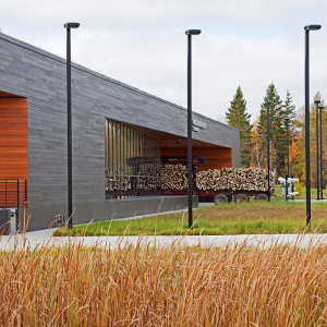The Warroad Land Port of Entry landscape design utilizes beautiful and economic materials to reflect the northern Minnesota vernacular and the dignity of the United States Government. The site is characterized by horizontal landscape interventions designed in response to the expansive horizon of the site and region.  The project created a distinctive landscape that complements the architecture in a thoughtful and contextual manner, while addressing issues of sustainability and serving the Port's security and operational needs.