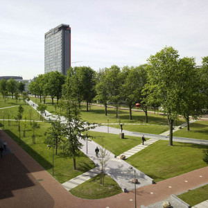 At 800 metres long and 80 metres wide, Mekel Park lends a grandeur to the university and provides an enjoyable meeting place for the international community of teachers and students. Mekel Park forms a corridor for pedestrians, cyclists, skaters and public transport along a carefully composed network of paths. Three stops for buses and trams are located on the edge of an esplanade, called the Nieuwe Delft, which zigzags the length of the park.