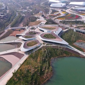 "The International Horticultural Exposition 2014 opened in Qingdao on April 25th; the two service centers, ""Heavenly Water (Tianshui)"" and ""Earthy Pond (Dichi)"", are named after the two extant lakes on Baiguo Mountain where the buildings are respectively located."
