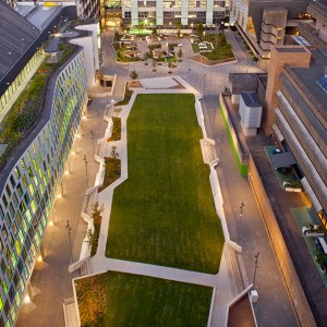 The new Alumni Green offers a unique opportunity to socialise, learn and enjoy campus life. The design creates a multitude of opportunities to bring people together by providing the social infrastructure to create places for people.