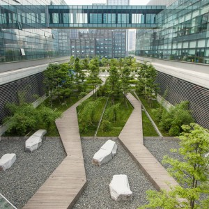 "SWA provided landscape architecture for Symantec's new research and development complex in Chengdu, China. The design reinvigorated the formerly inactive area, linking the building program and connecting the site to the larger city. The scheme creates a ""brocade"" by weaving together the building and site programs, and forming an oasis amid the dense, urban location ..."