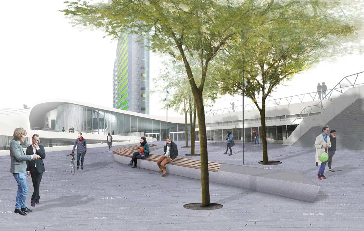 Photomontage station square bureau b b urbanism and landscape