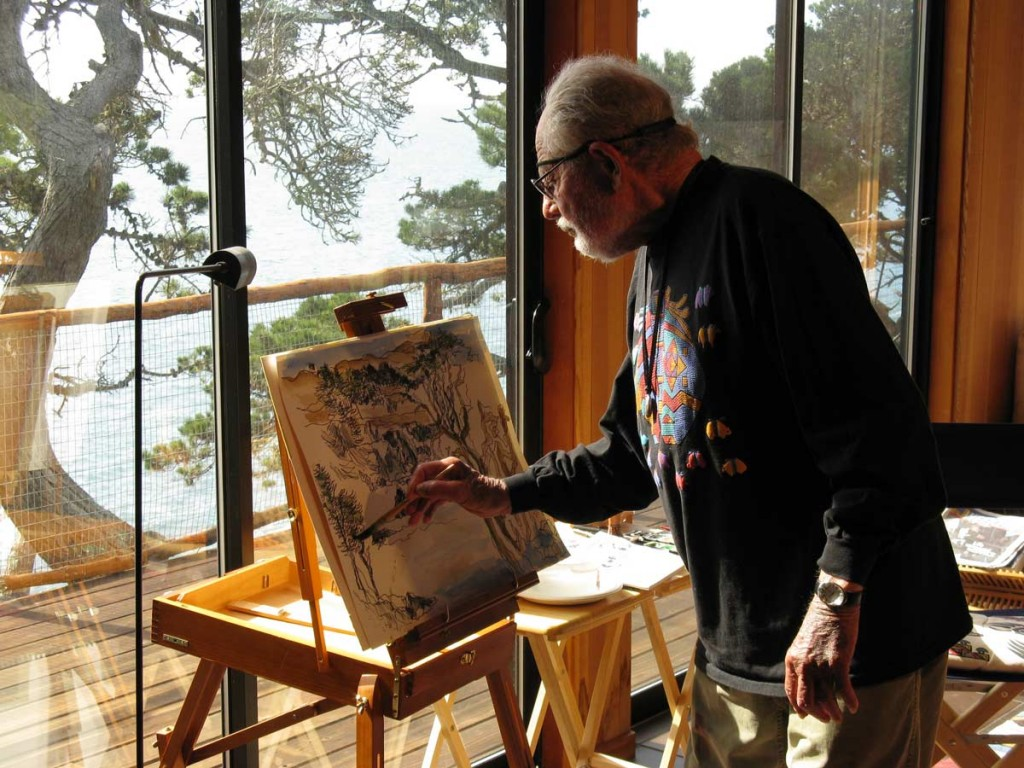 Lawrence-Halprin-painting-at-home,-Sea-Ranch-CA-2008-Photograph-by-Charles-A-Birnbaum-courtesy-The-Cultural-Landscape-Foundation