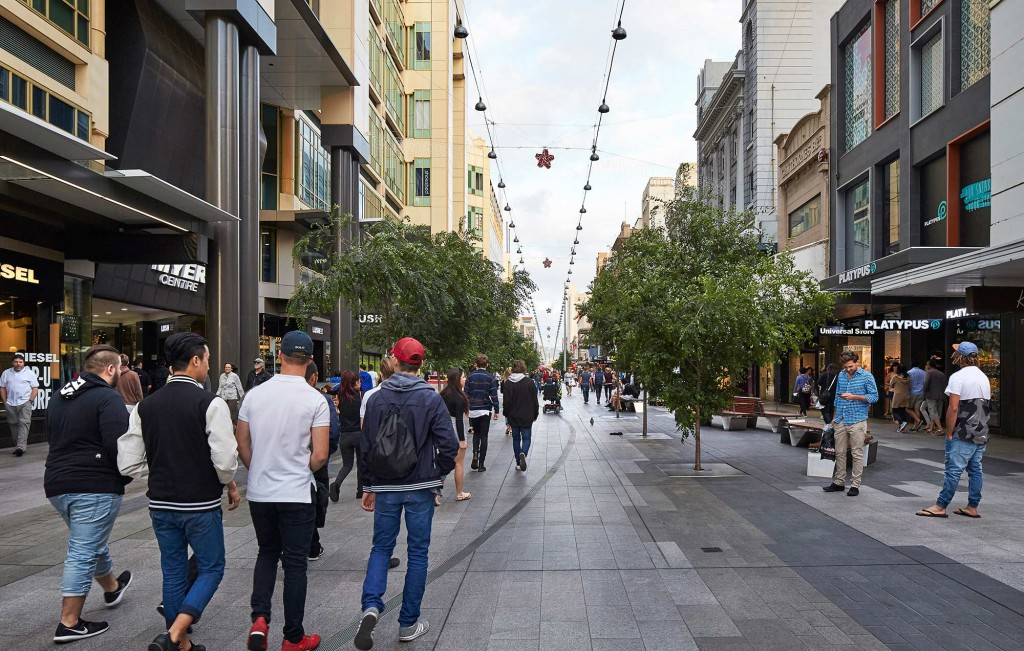 Rundle mall redevelopment by hassell for Landscape architecture adelaide uni
