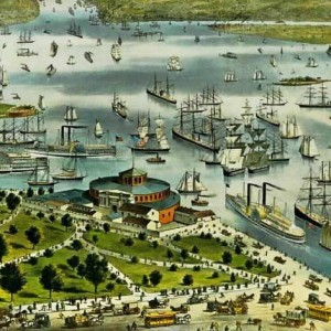 1892 Currier and Ives The Port of New York Birdseye view from the Battery looking South Detail